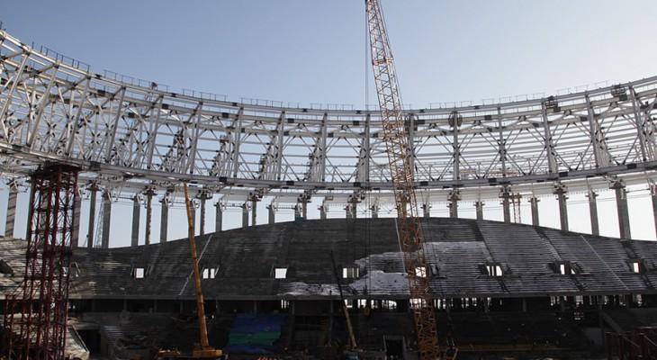 На «Стадионе Нижний Новгород» началась подготовка  к устройству витражей