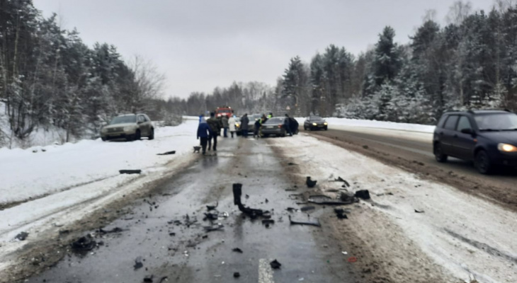 Женщина и шестилетний ребенок пострадали в массовой аварии на Федосеенко в Нижнем Новгороде