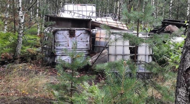 Несанкционированную свалку химических отходов обнаружили в лесу в Дзержинске
